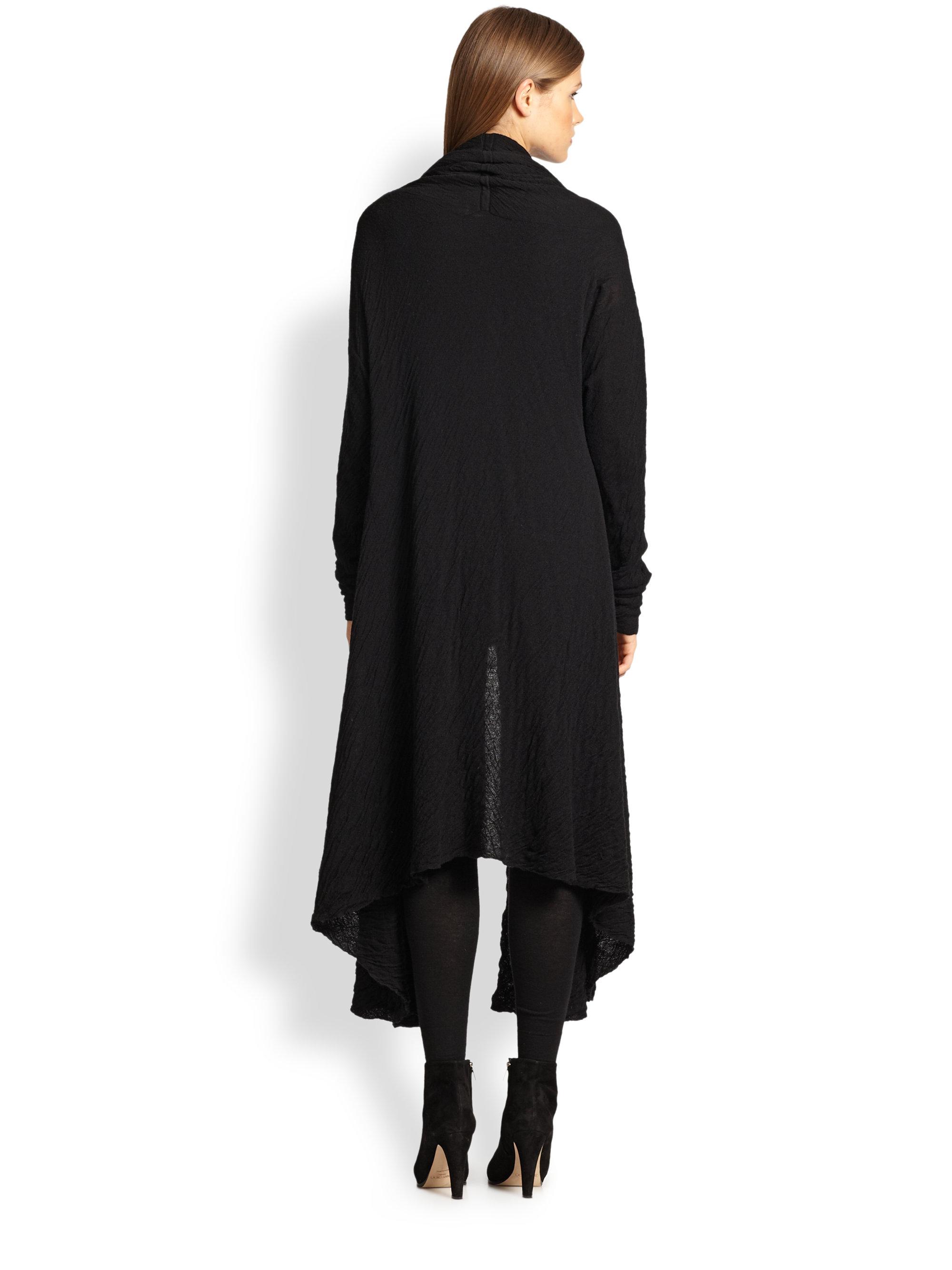 donna karan cashmere silk drape front coat in black lyst. Black Bedroom Furniture Sets. Home Design Ideas