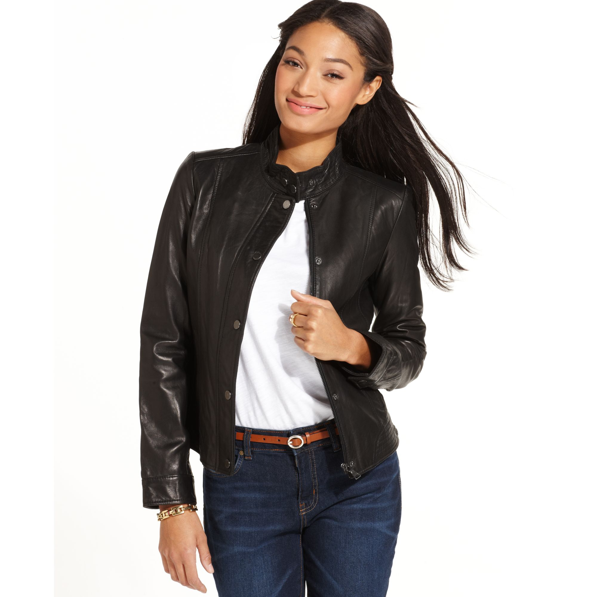 lyst tommy hilfiger leather moto jacket in black. Black Bedroom Furniture Sets. Home Design Ideas