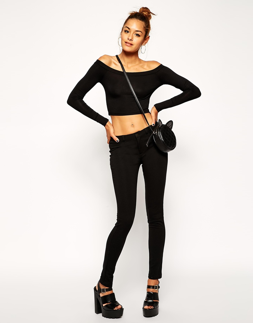 66f71aeaa5fd3 Lyst - ASOS Crop Top With Long Sleeves And Bardot Off Shoulder in Black