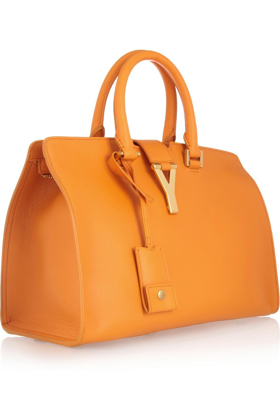 2ffad02d6bba Lyst - Saint Laurent Ligne Classique Y Leather Tote in Orange