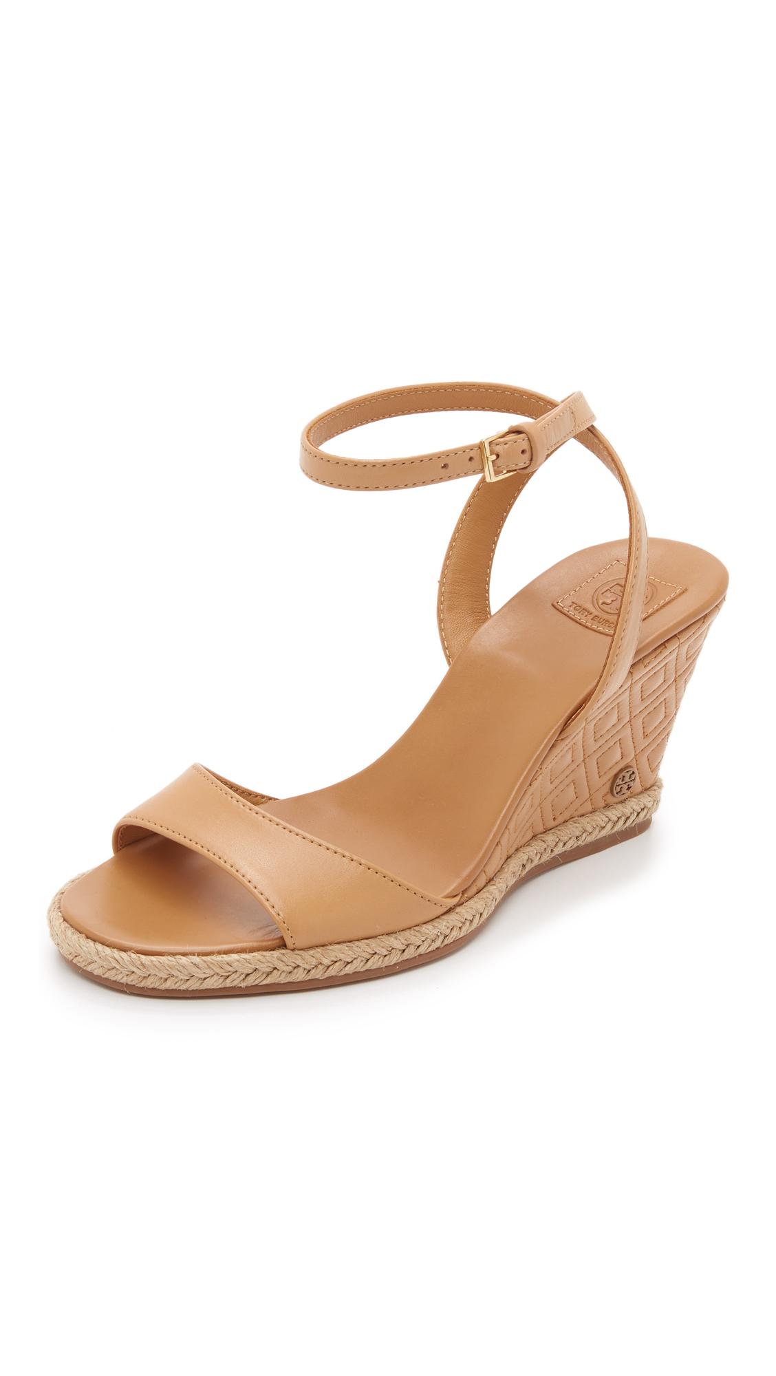 3b9346d2252 Tory Burch Marion Quilted Wedge Sandals in Natural - Lyst