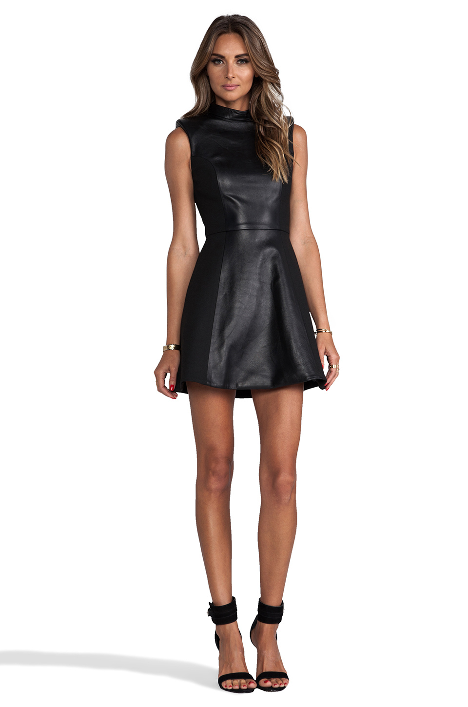 Lyst Nicholas Leather High Neck Dress In Black In Black