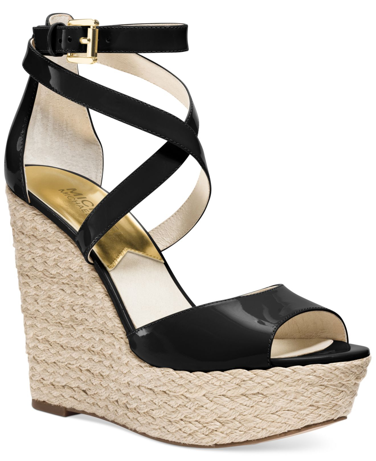 4a454317041 Lyst - Michael Kors Michael Gabriella Platform Wedge Sandals in Black