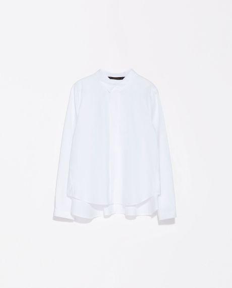 Zara Poplin Shirt in White