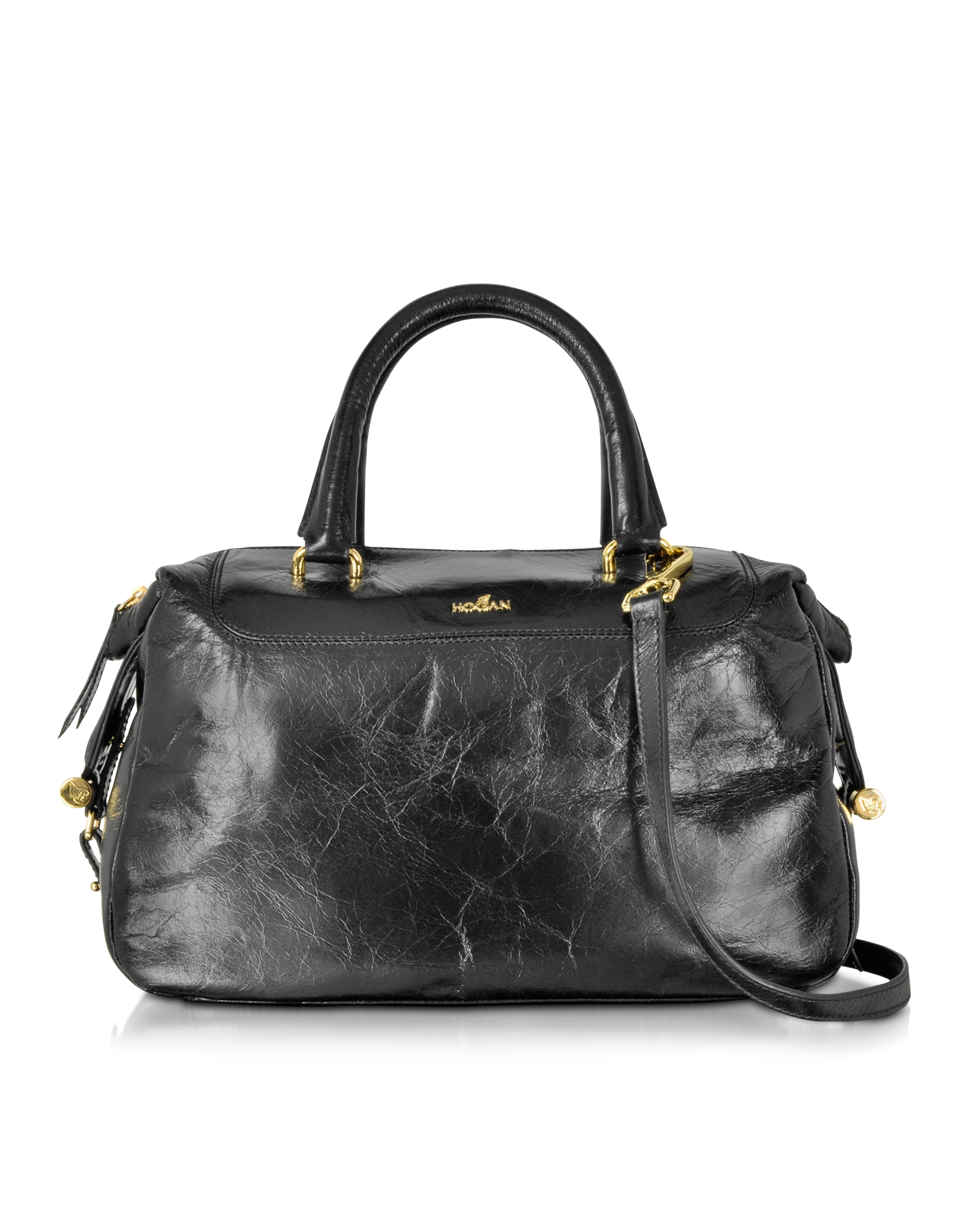 Lyst - Hogan Leather Satchel Bag W shoulder Strap in Black 185dbf8b680ca