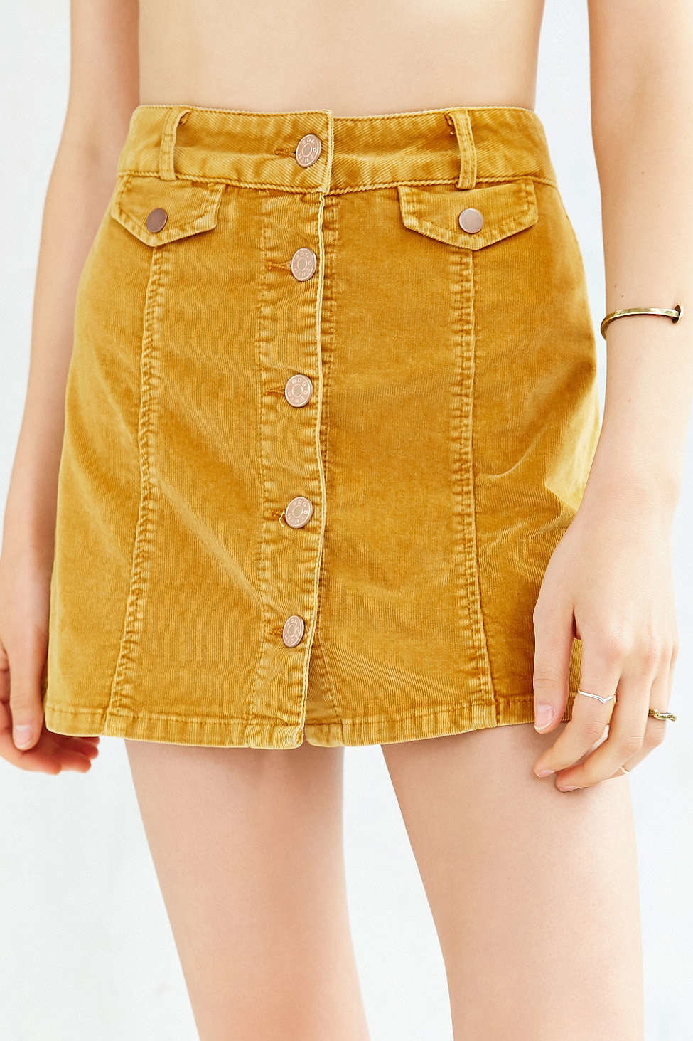 b0c0fad981 BDG Corduroy Button-front Mini Skirt in Yellow - Lyst