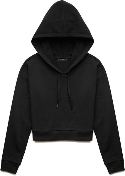 Forever 21 Casual Day Cropped Hoodie In Black Charcoal