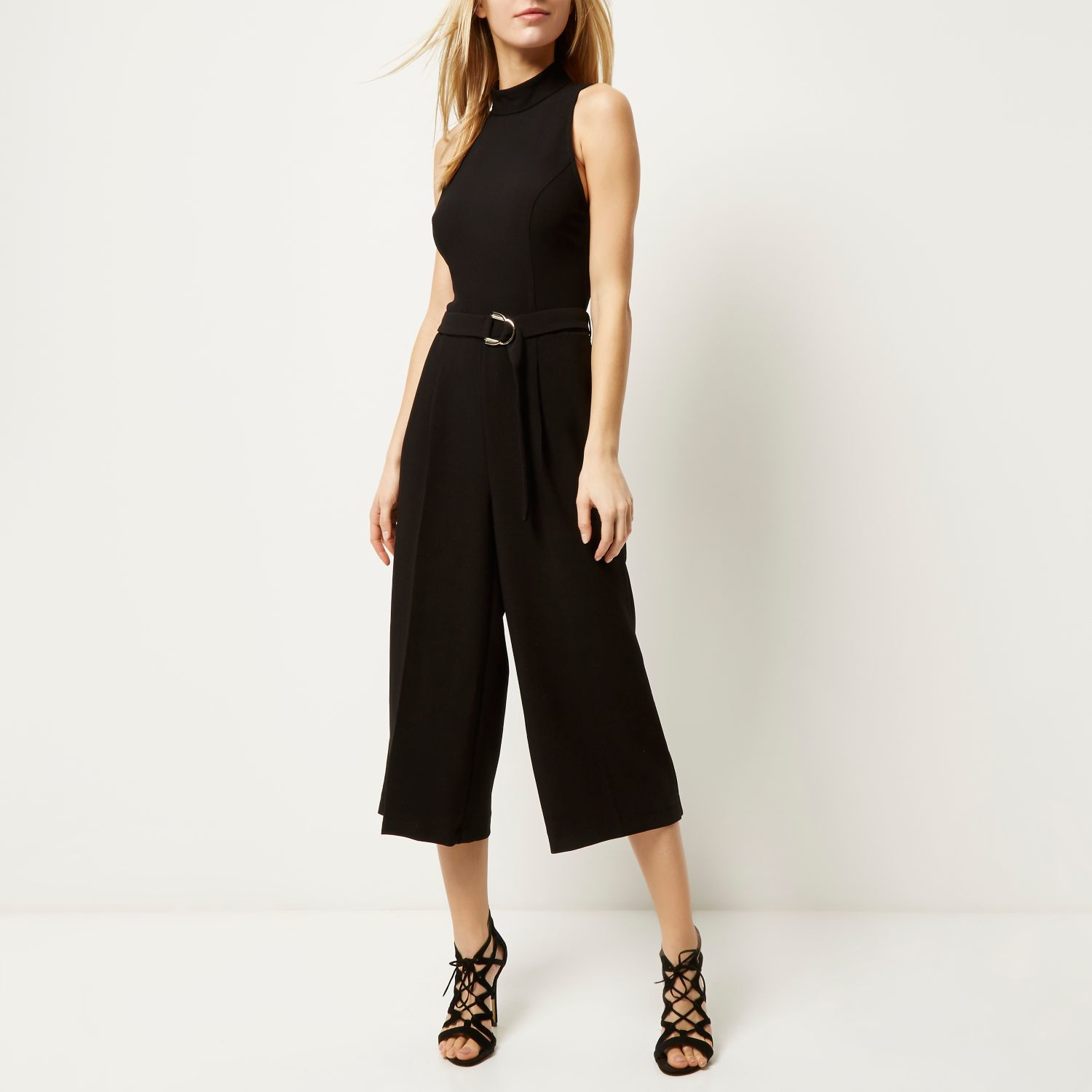 3824c73ccee Lyst - River Island Black Smart D-ring Culotte Jumpsuit in Black