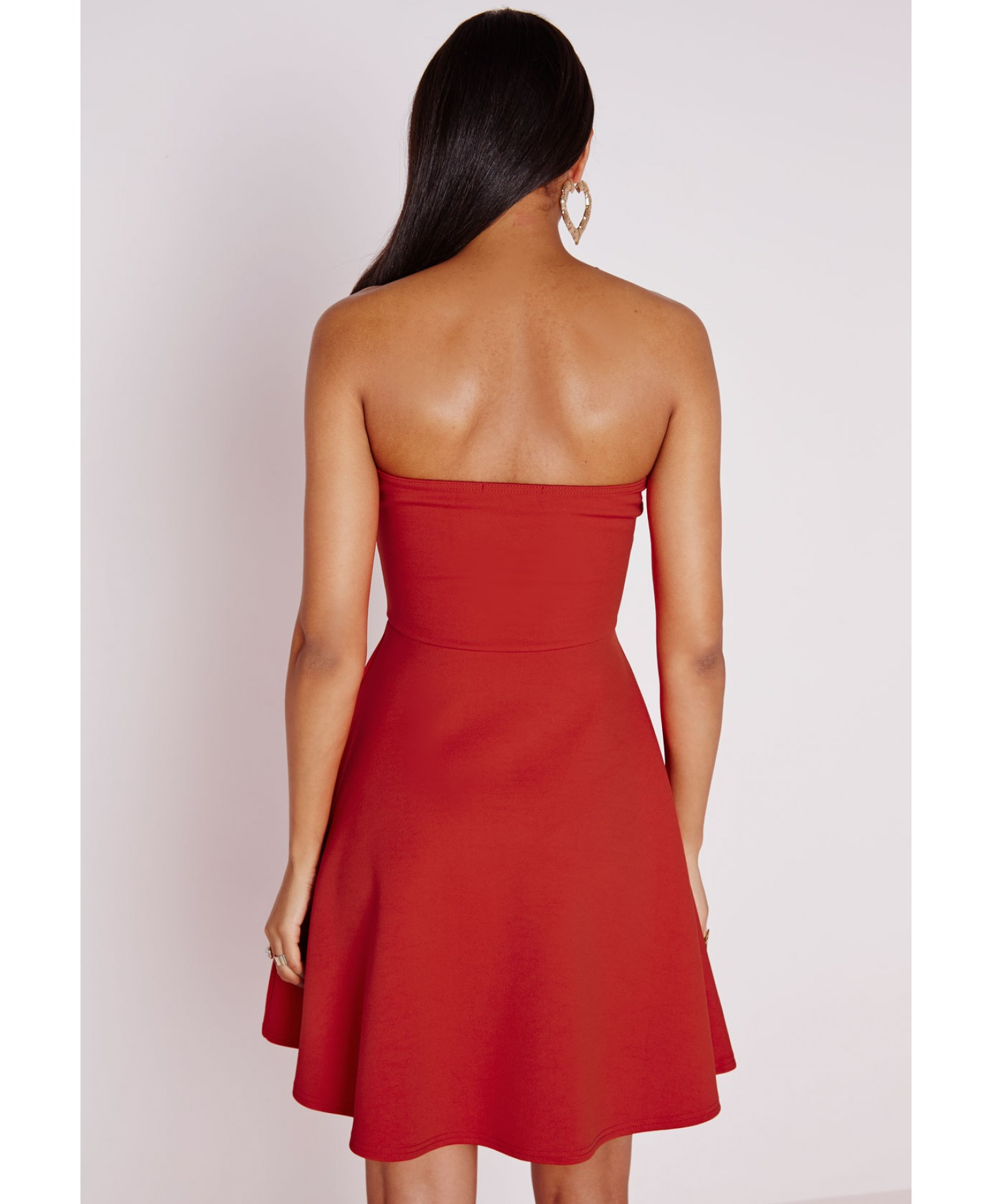 ee225b6f27 ... brand new 65b0e d0b25 Missguided Scuba Plunge Skater Dress Red in Red -  Lyst ...