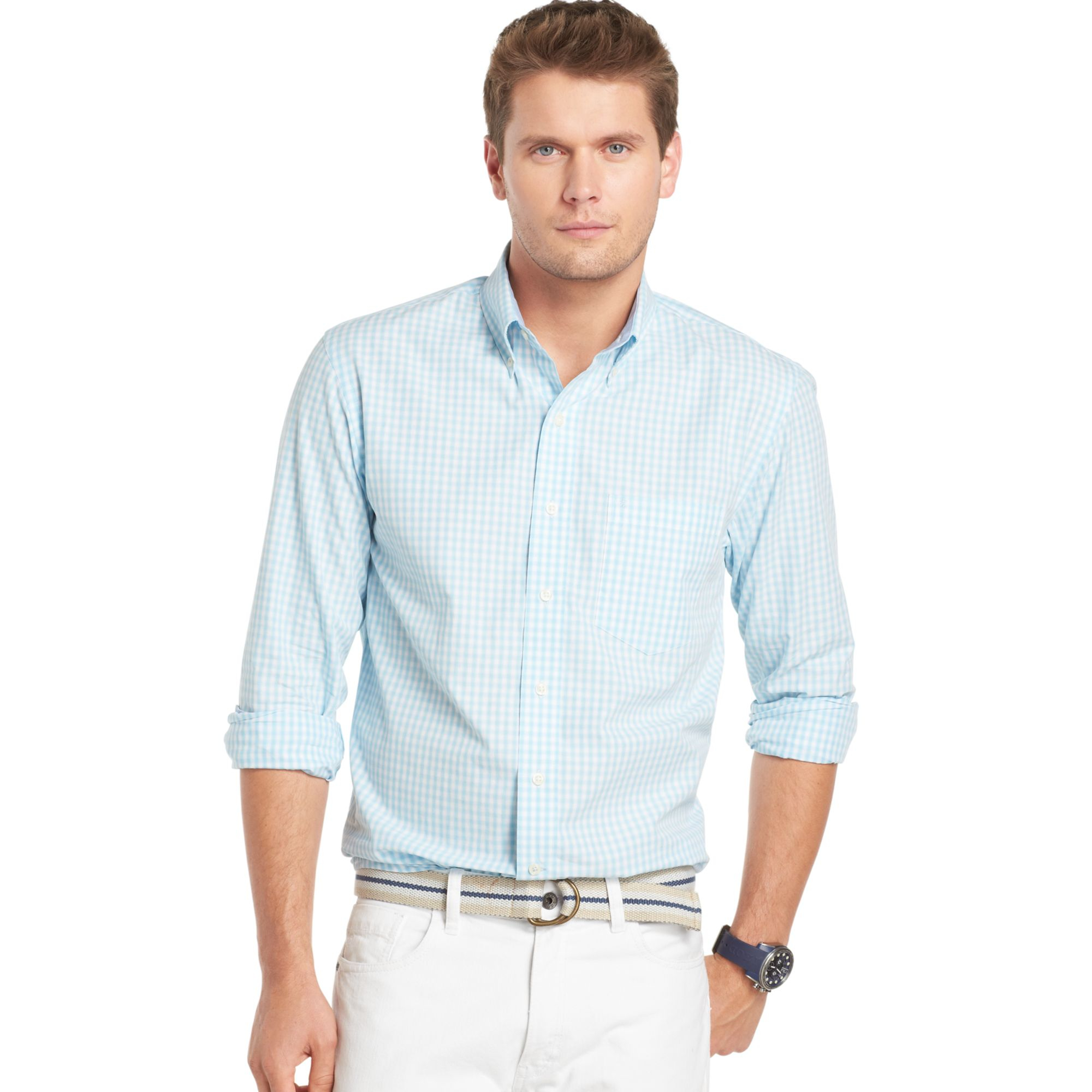 Izod big and tall essential shadow gingham shirt in blue for Izod big and tall shirts