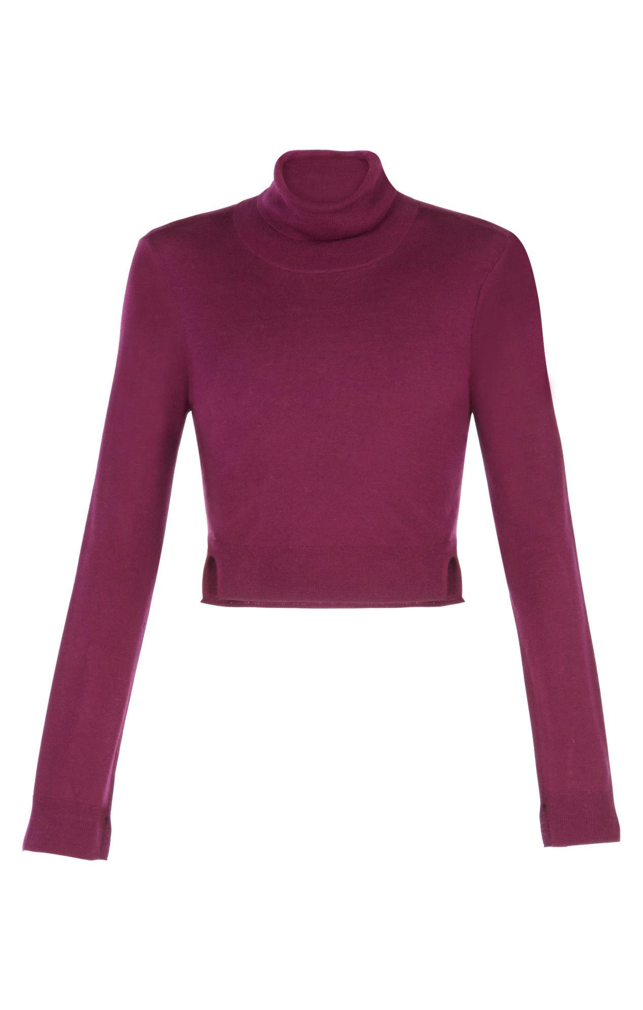 Bcbgmaxazria Natassia Cropped Turtleneck Wool Sweater in Purple | Lyst
