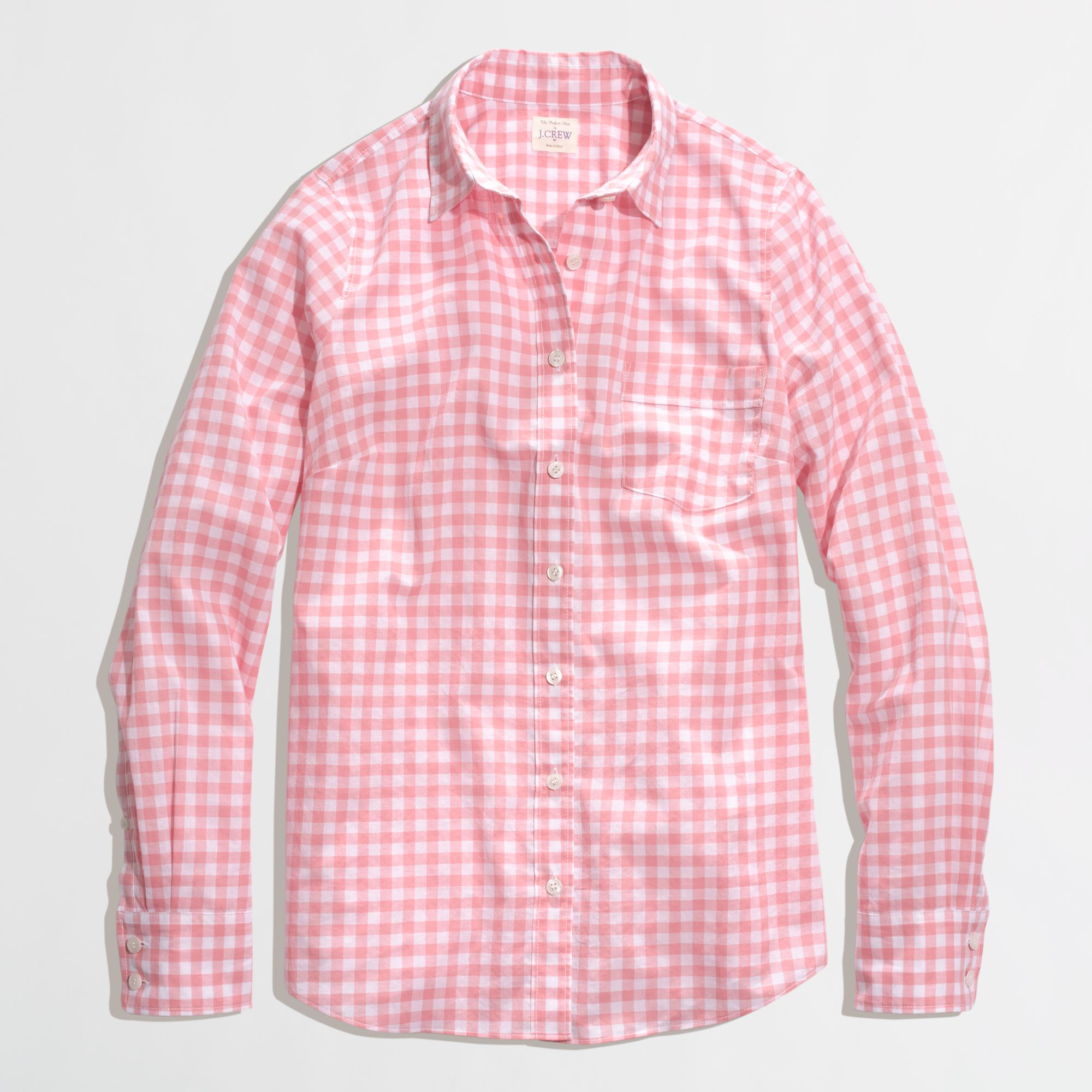 factory classic buttondown shirt in gingham in pink