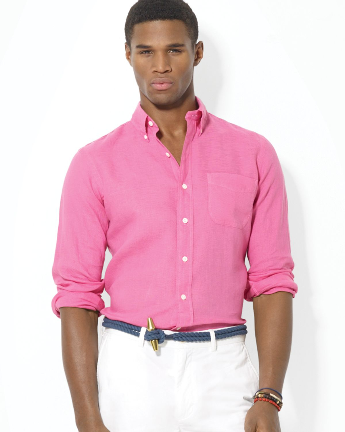 Ralph lauren Polo Linen Mercer Pocket Sport Shirt in Pink for Men ...