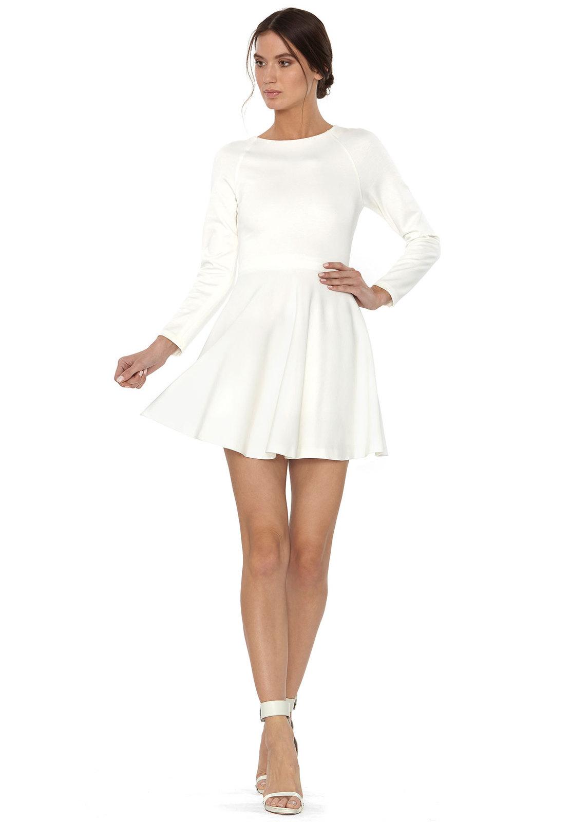 3fe2b5589b3f Lyst - Alice + Olivia Brinley Boatneck Long Sleeve Mini Dress in White