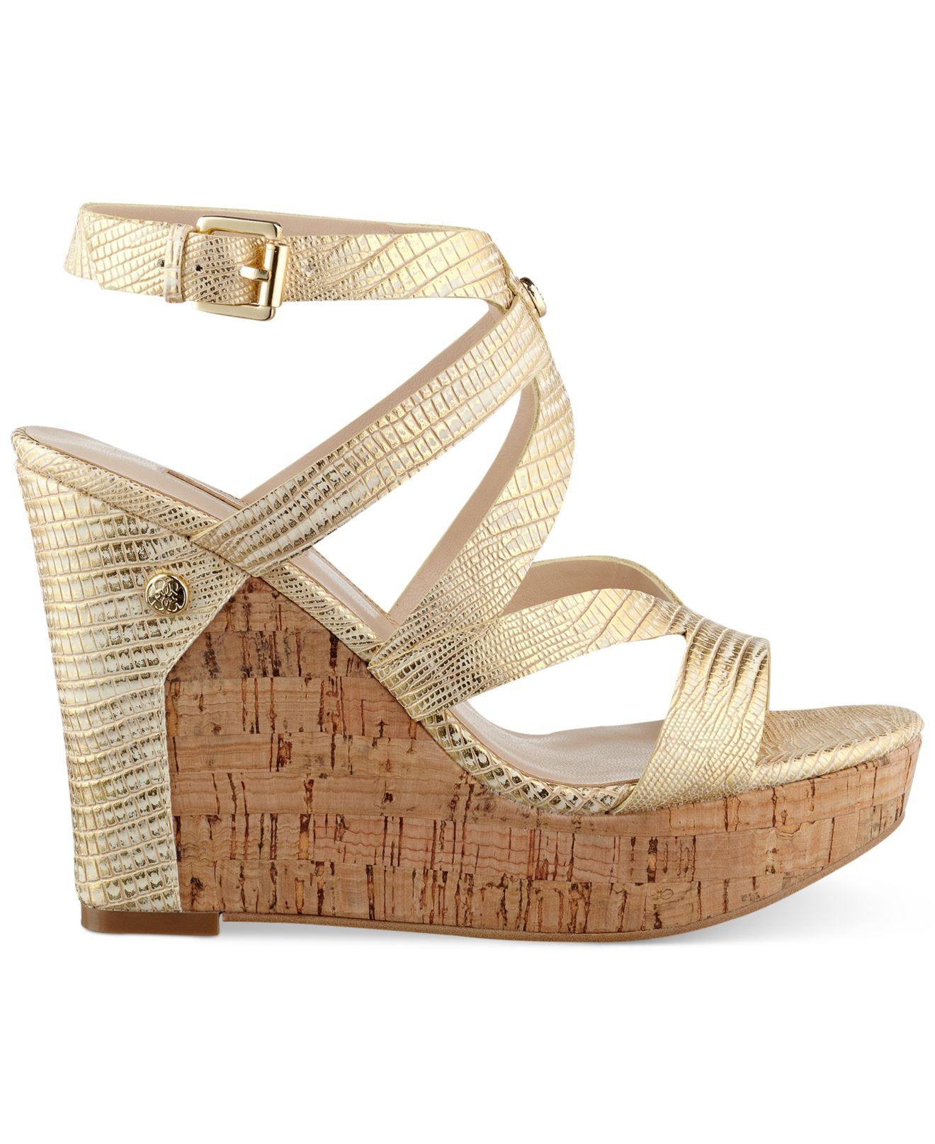 726813456b3 Lyst - Guess Women S Harlee Cork Platform Wedge Sandals in Metallic
