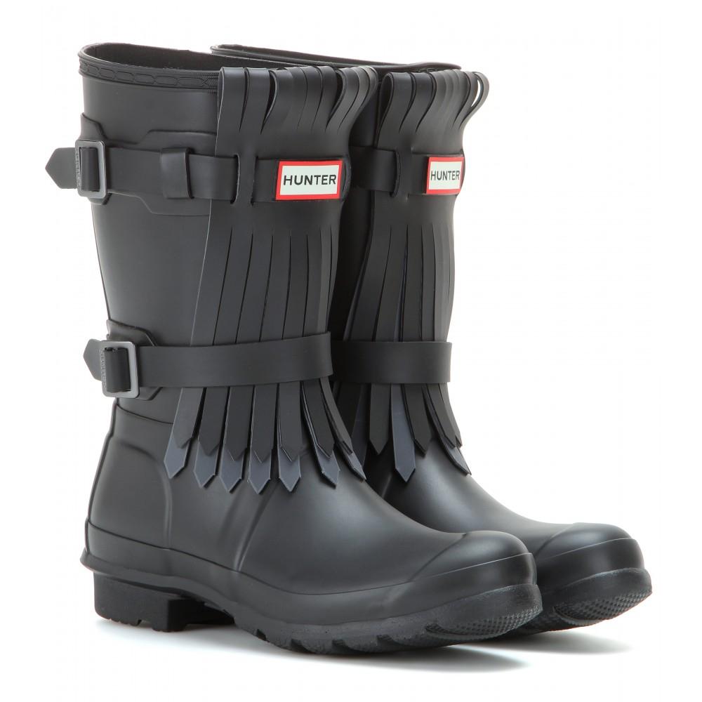 Lyst Hunter Short Fringe Rain Boots In Black