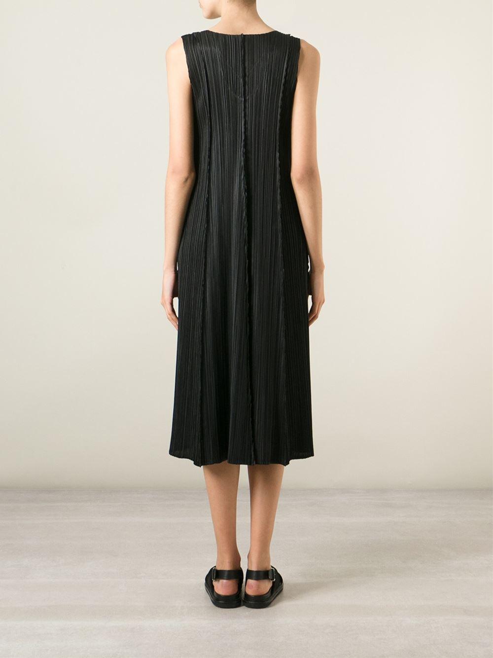 Pleats Please Issey Miyake Sleeveless Pleated Dress In