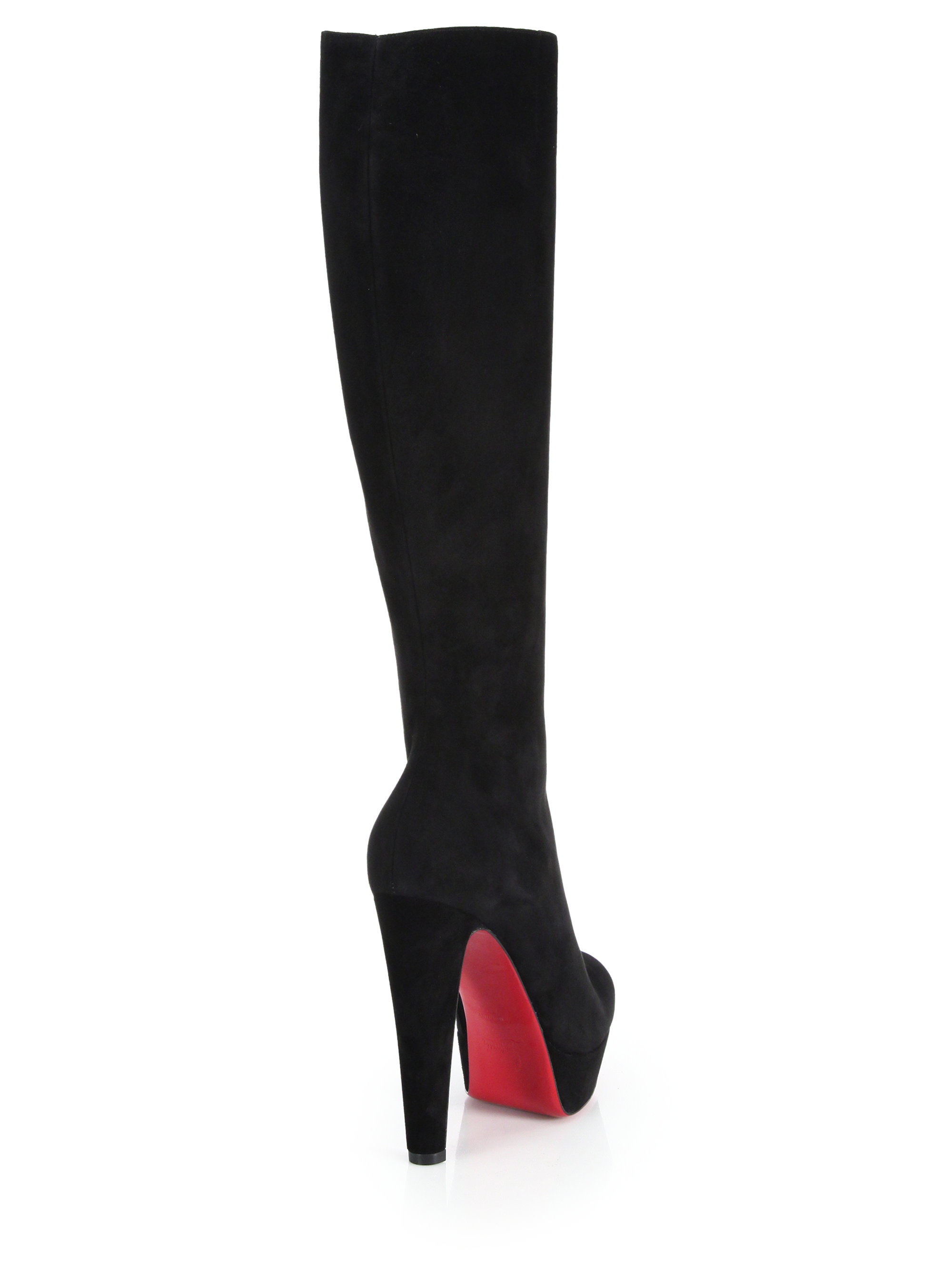 78965315b8f Lyst - Christian Louboutin Lady Suede Knee-high Platform Boots in Black