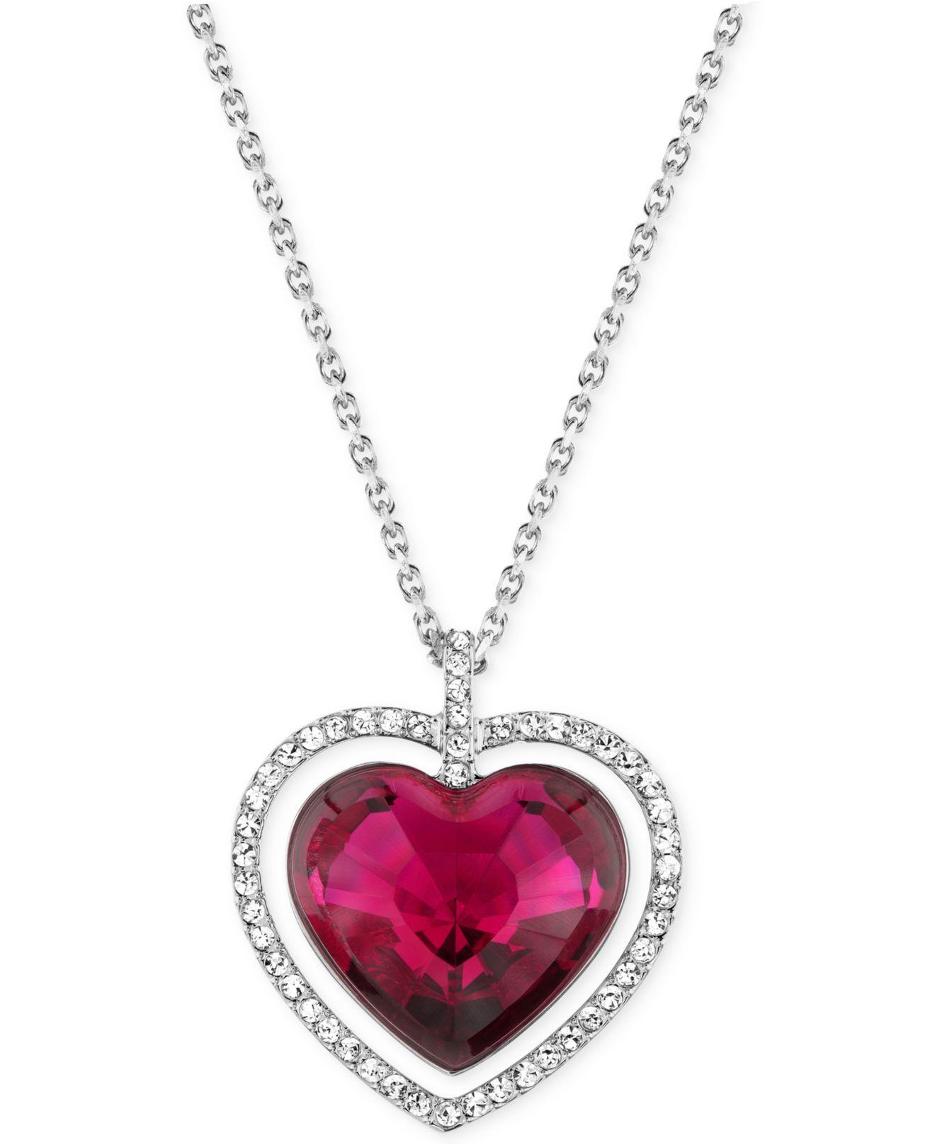 swarovski rhodium plated red crystal heart pendant. Black Bedroom Furniture Sets. Home Design Ideas