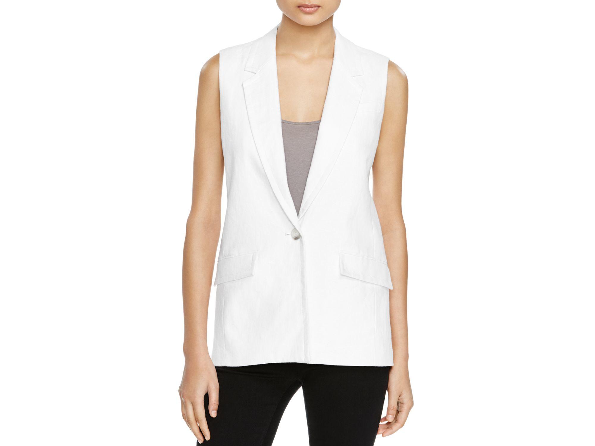 Michael michael kors Tailored Linen Vest in White | Lyst