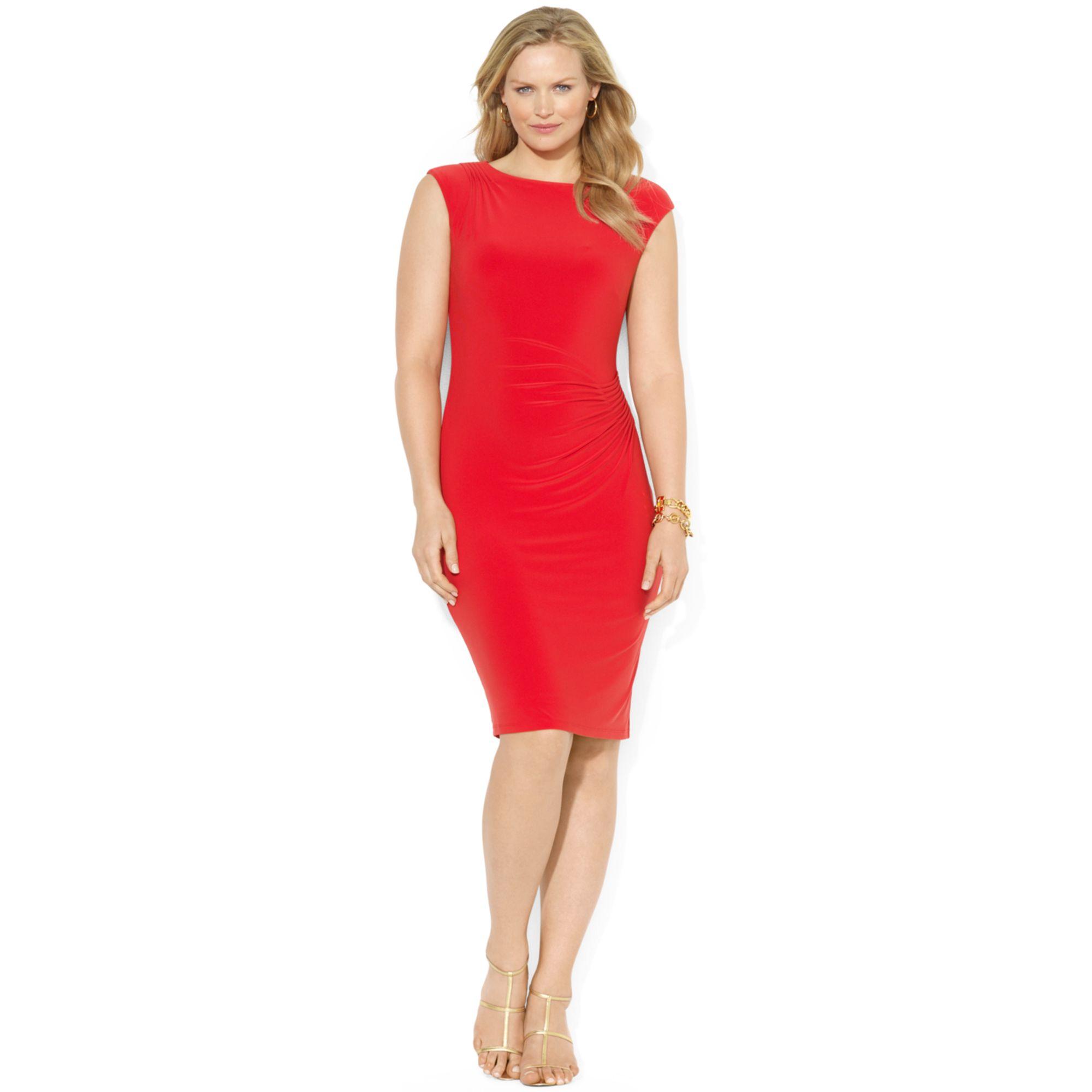 Lyst Lauren By Ralph Lauren Plus Size Capsleeve Boatneck Dress In Red