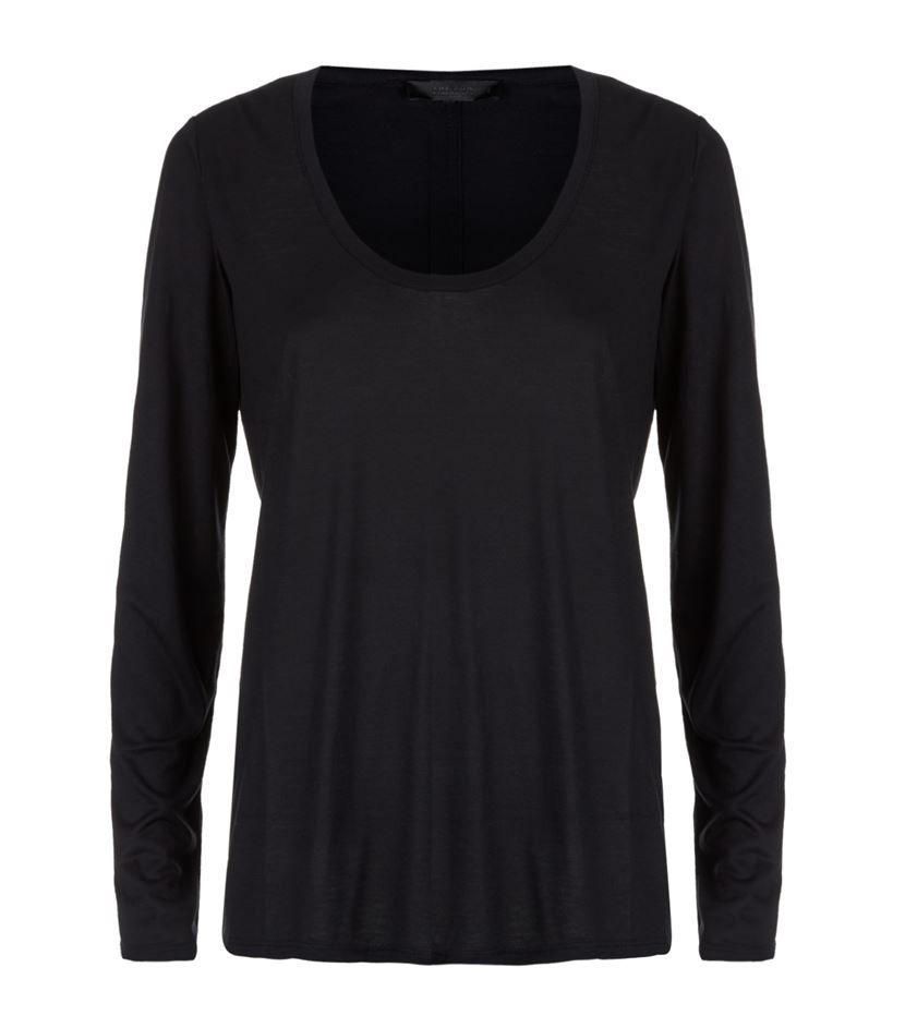 The row baxerton long sleeve scoop neck t shirt in black for Scoop neck long sleeve shirt