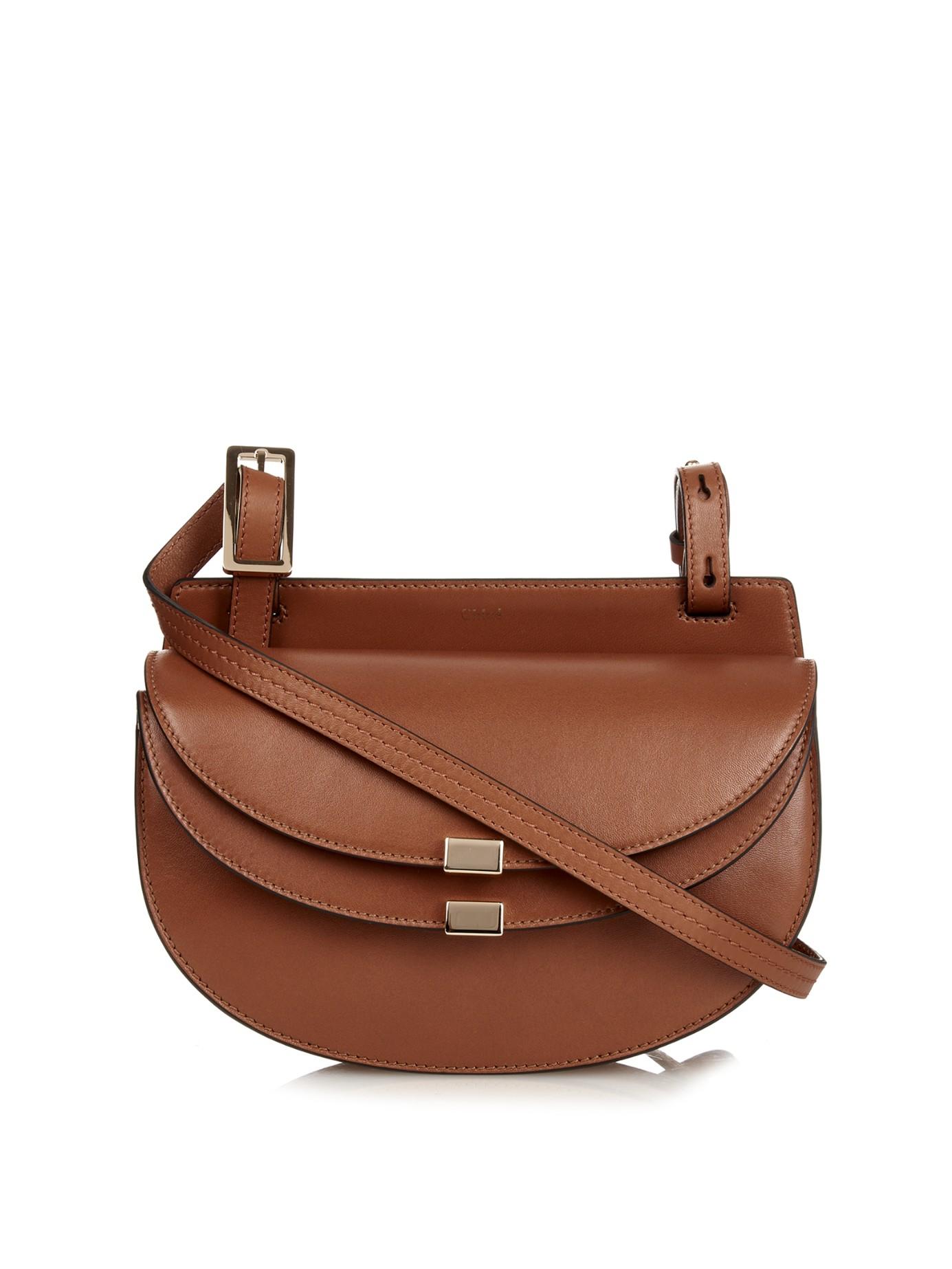 Chlo¨¦ Georgia Leather Cross-Body Bag in Brown (TAN) | Lyst