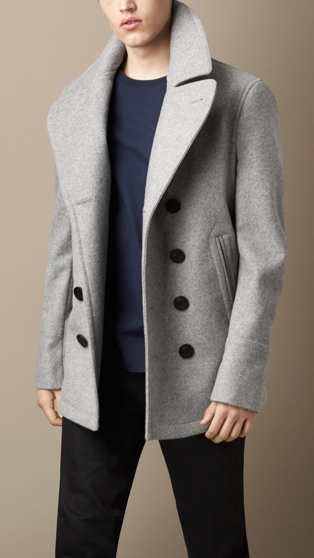 Burberry Wool Cashmere Pea Coat in Gray for Men | Lyst