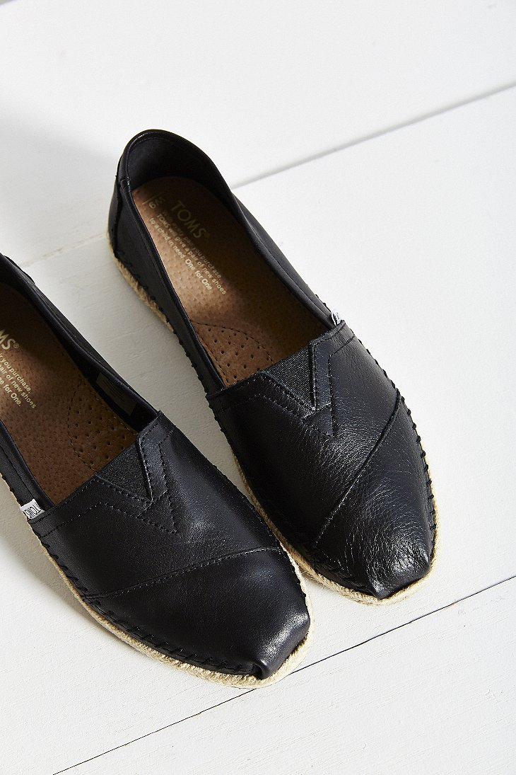 70240fb7cba Lyst - TOMS Leather Espadrille in Black