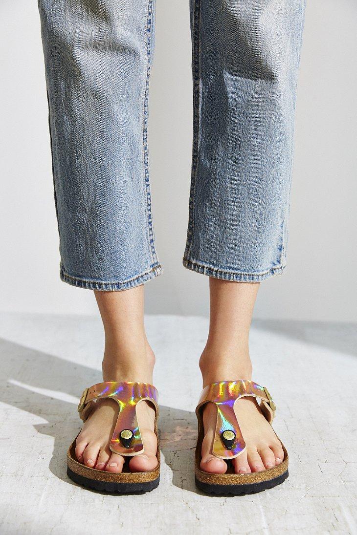 Lyst Birkenstock Gizeh Birko Flor Mirror Sandal In Pink