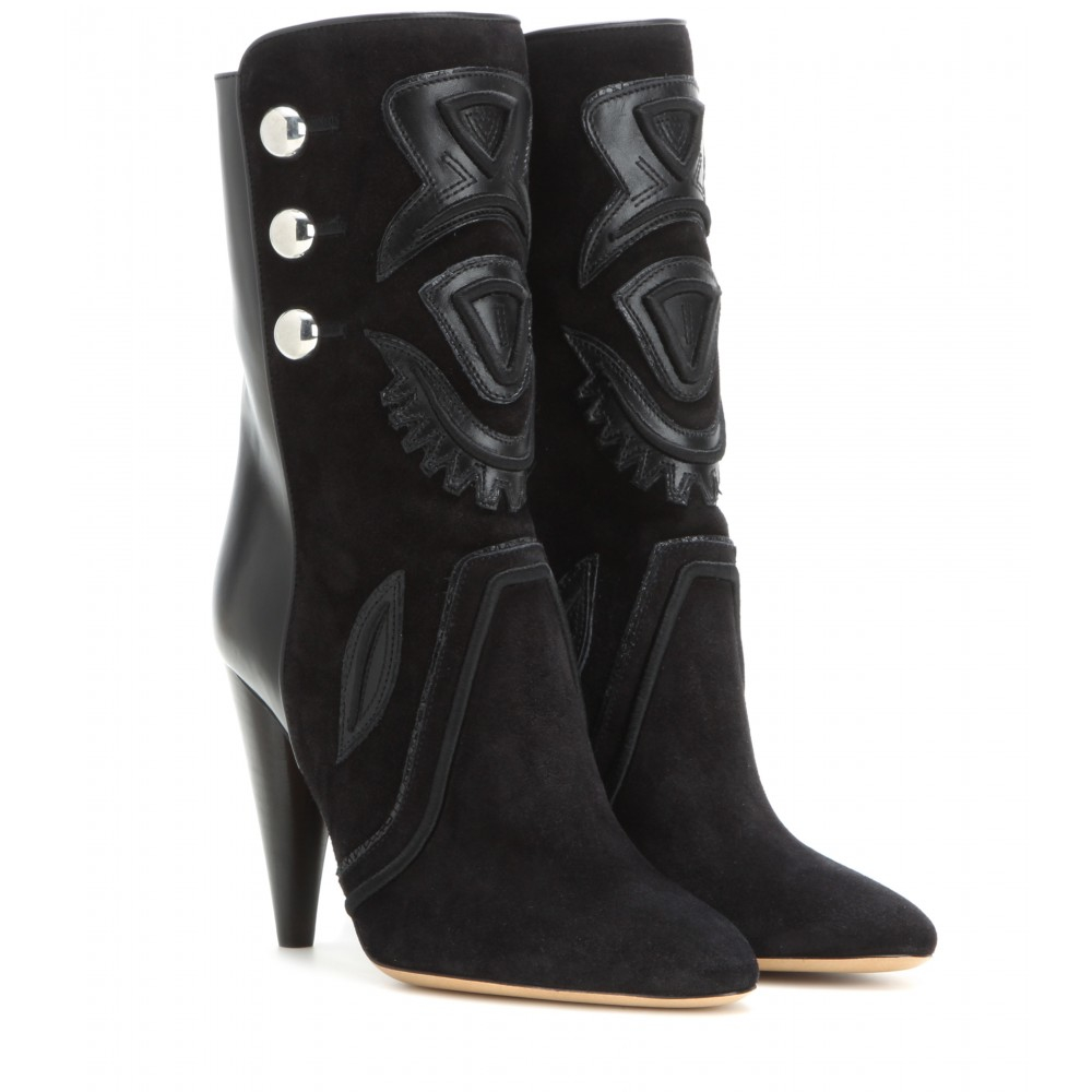 Isabel Marant Woman Liv Suede And Leather Ankle Boots Size 35 MASjaLO