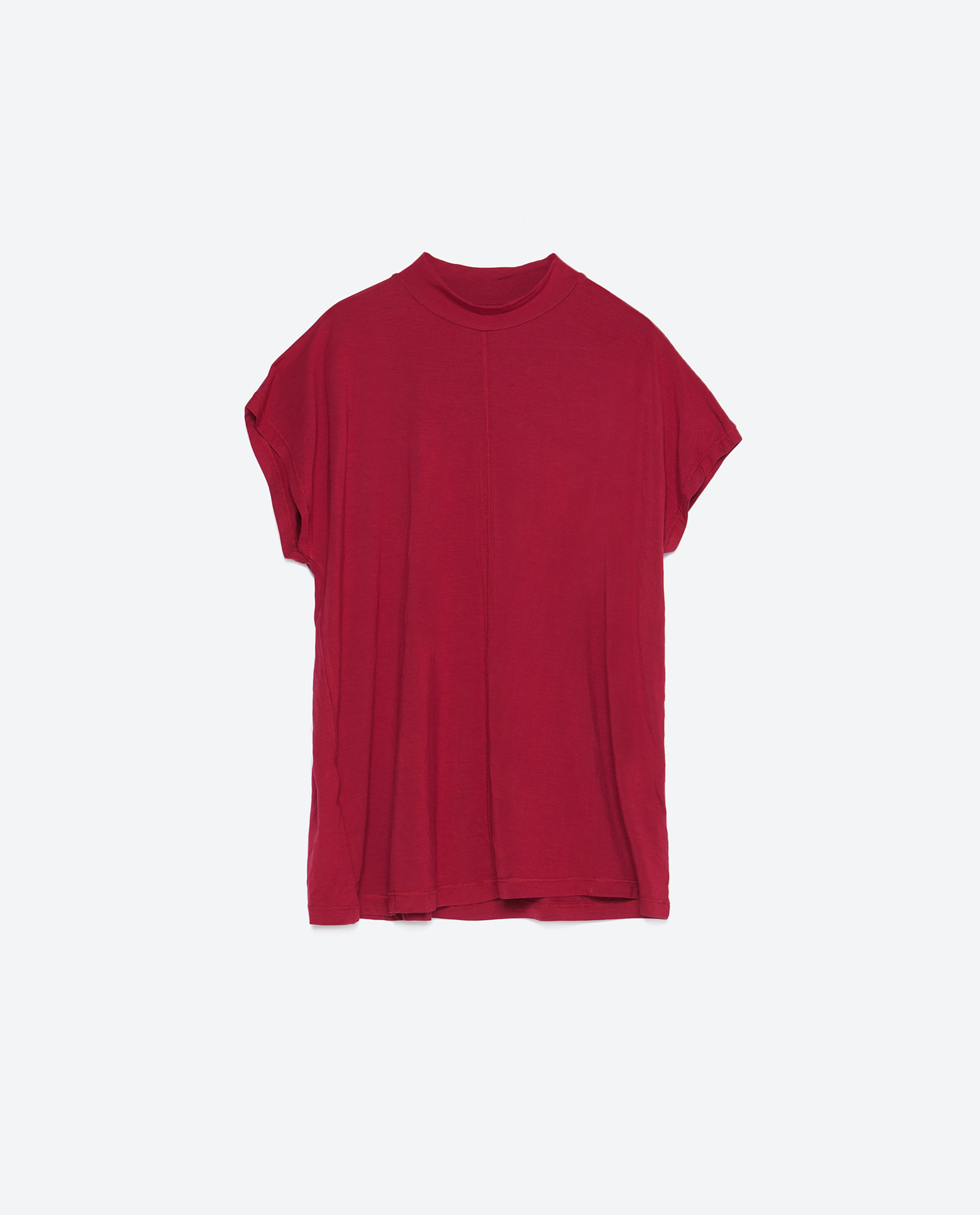 Zara high neck t shirt in red dark red lyst for High neck tee shirts