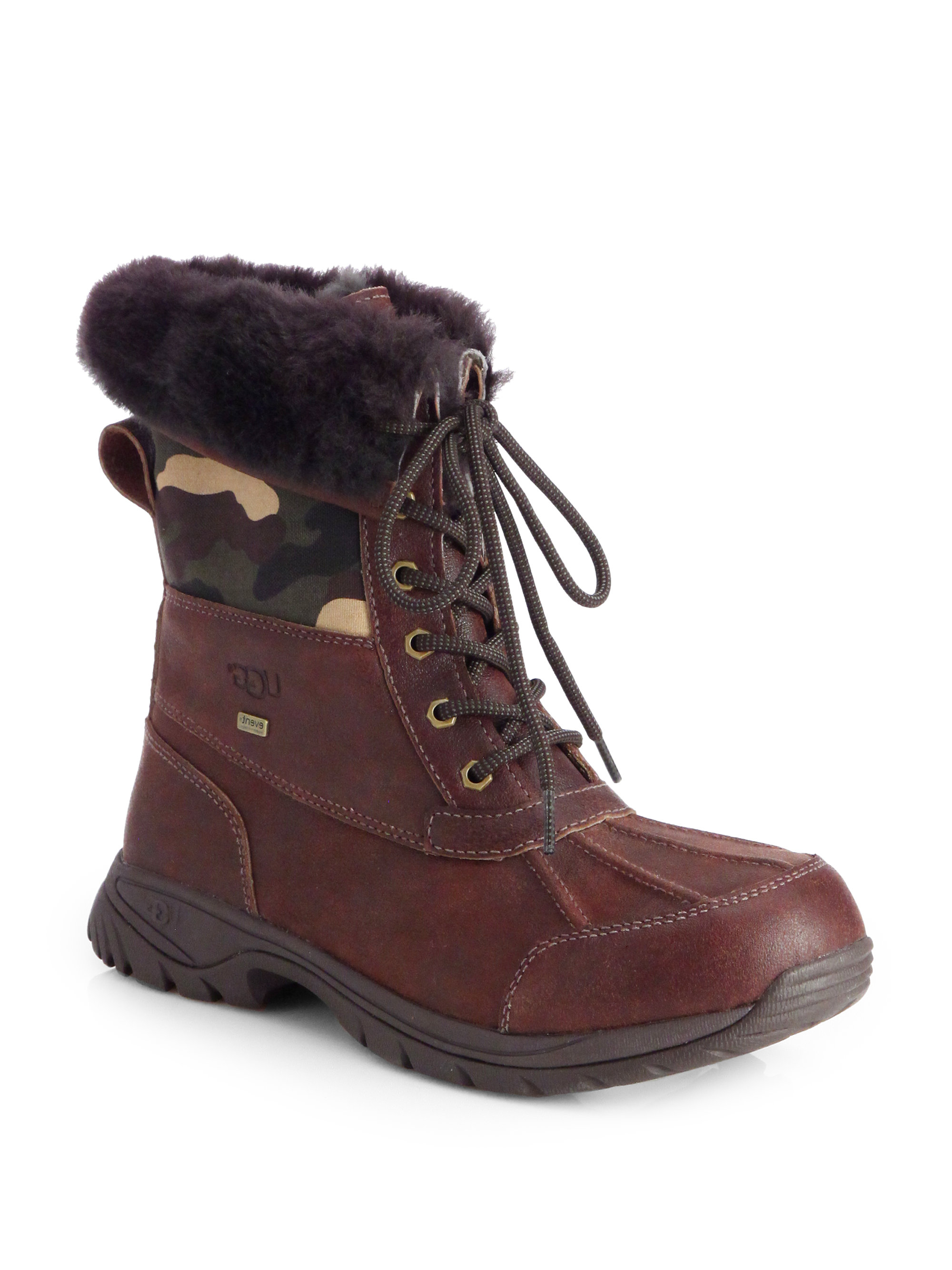 ugg butte camo waterproof boots in brown for lyst