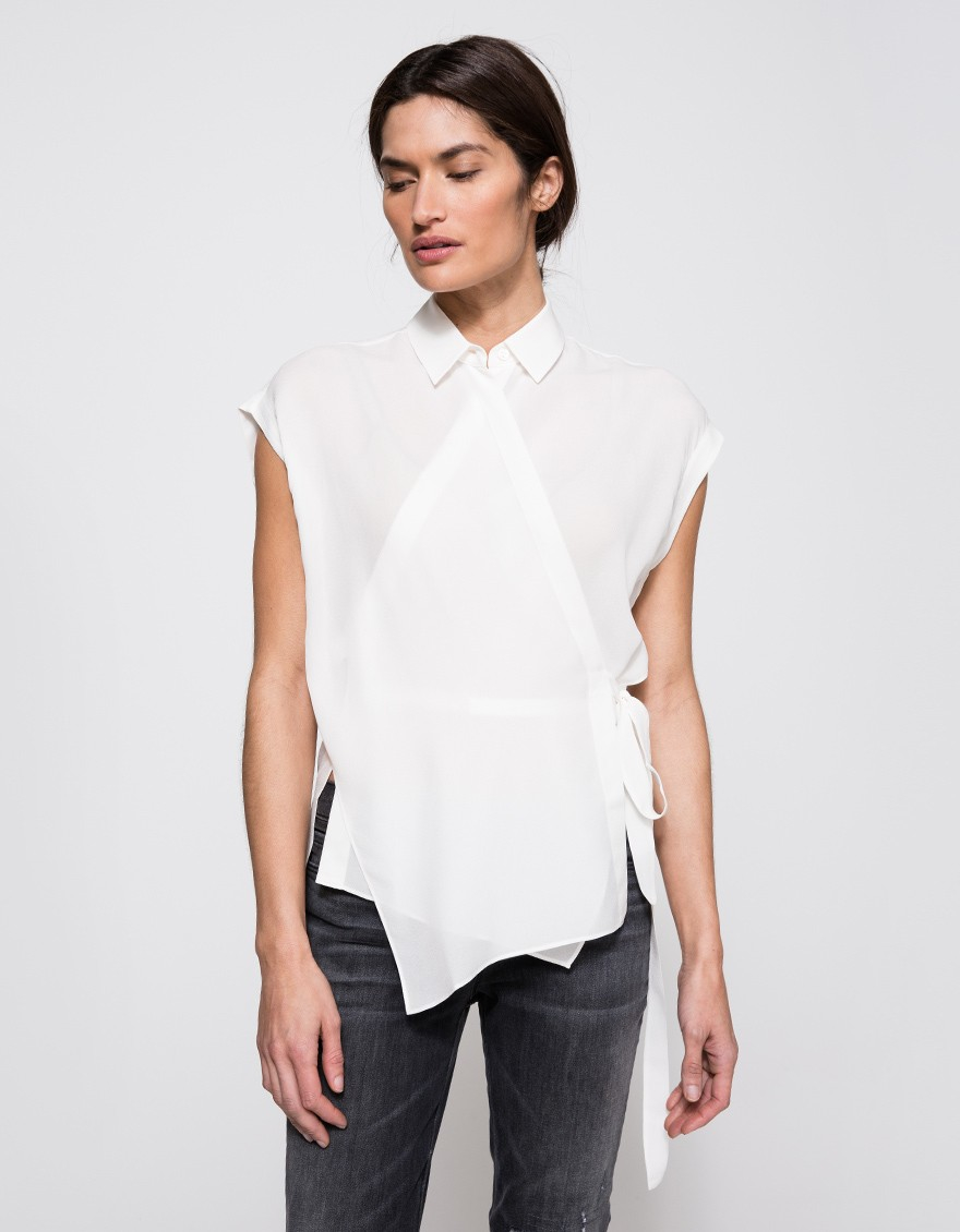 Womens White Wrap Blouse 112