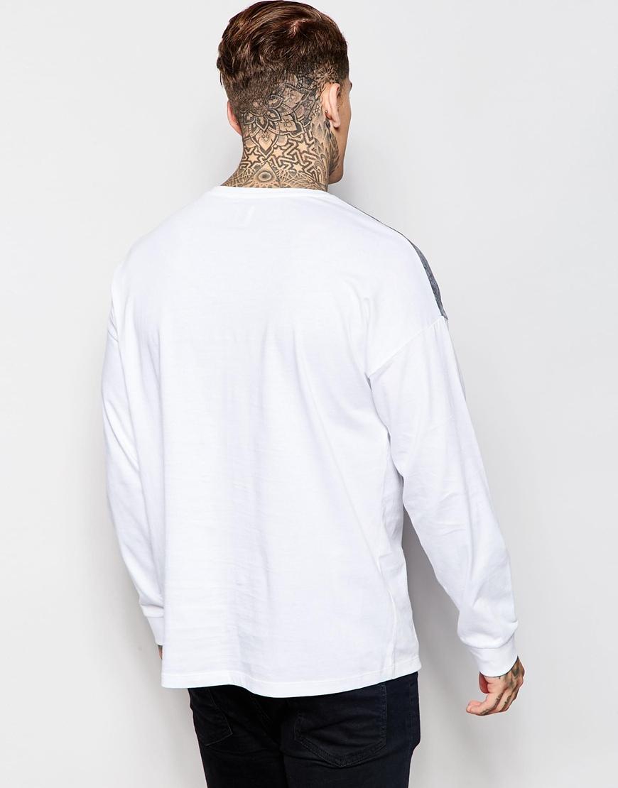 Asos Oversized Long Sleeve T Shirt With Marble Yoke Print