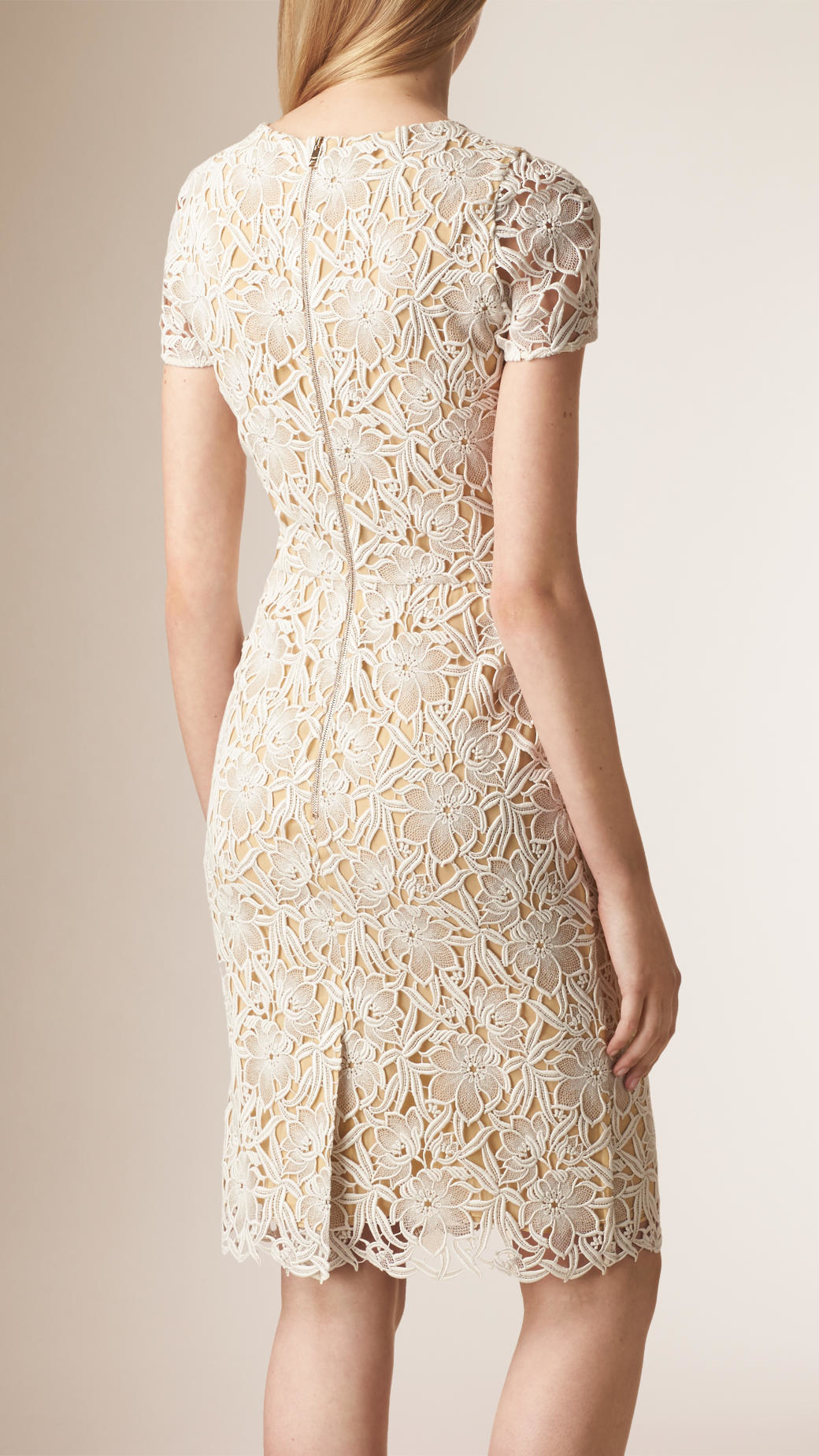 macrame dresses lyst burberry macram 233 lace dress in white 252