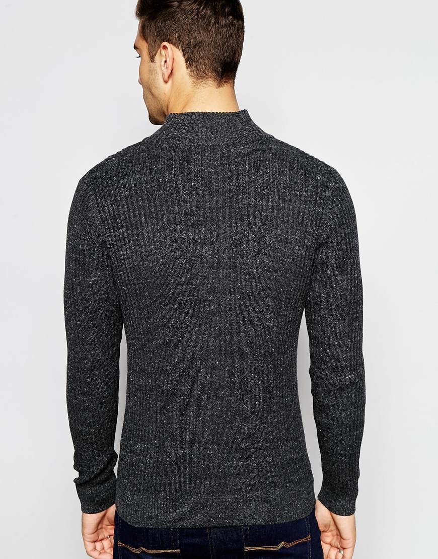 Selected Elected Homme Ribbed Zip Up Knitted Cardigan in Gray for ...