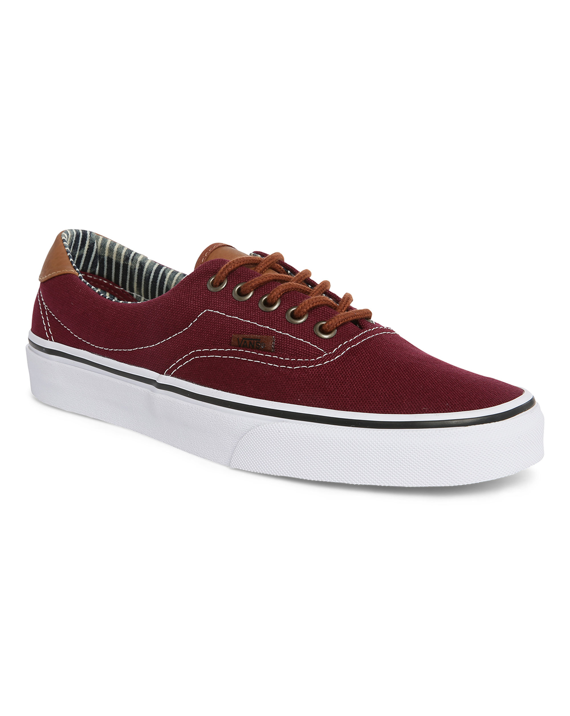 Vans Burgundy Era Leather/canvas Sneakers in Red for Men | Lyst