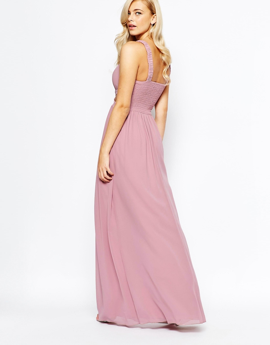 e3be85102c Little Mistress Chiffon Maxi Dress With Cut Outs in Pink - Lyst