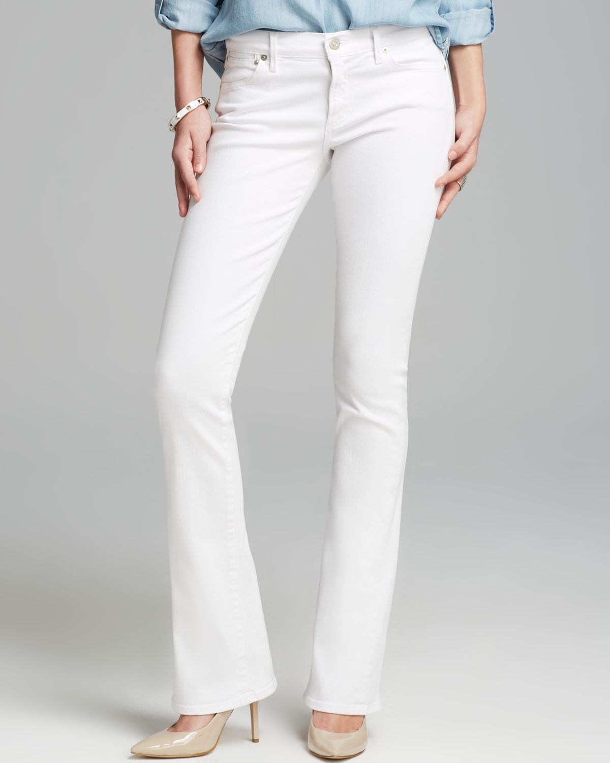 white bootleg jeans - Jean Yu Beauty