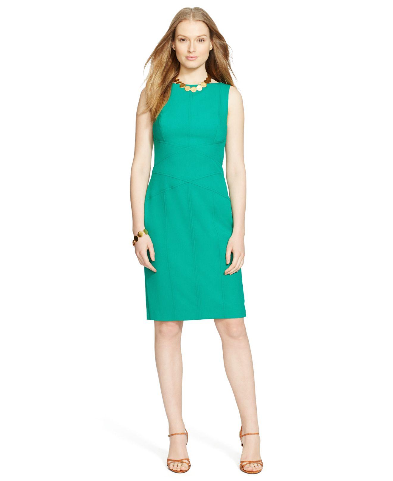 b389cae90e2389 Lyst - Lauren by Ralph Lauren Sleeveless Dress in Green