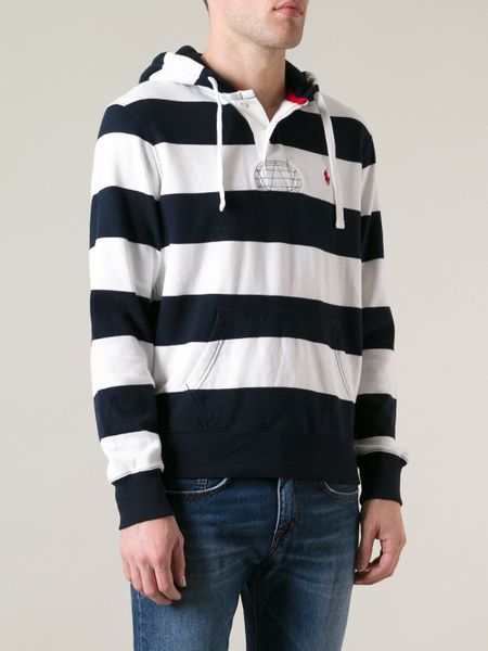 Polo Ralph Lauren Striped Terry Atlantic Hoodie in White for Men