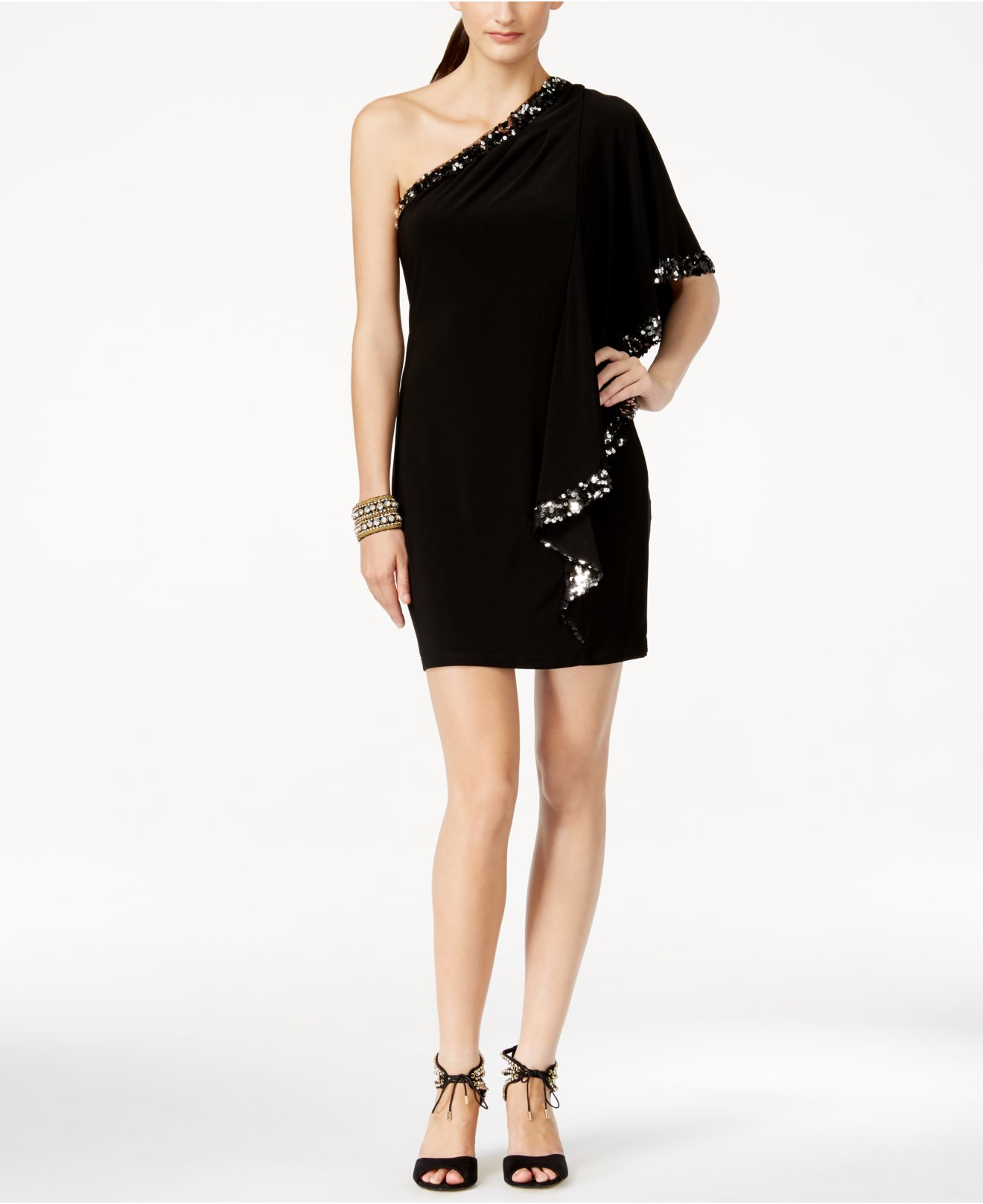 051ac8295418 Lyst - Betsy   Adam B a By One-sleeve Sequin Off-the-shoulder Dress ...