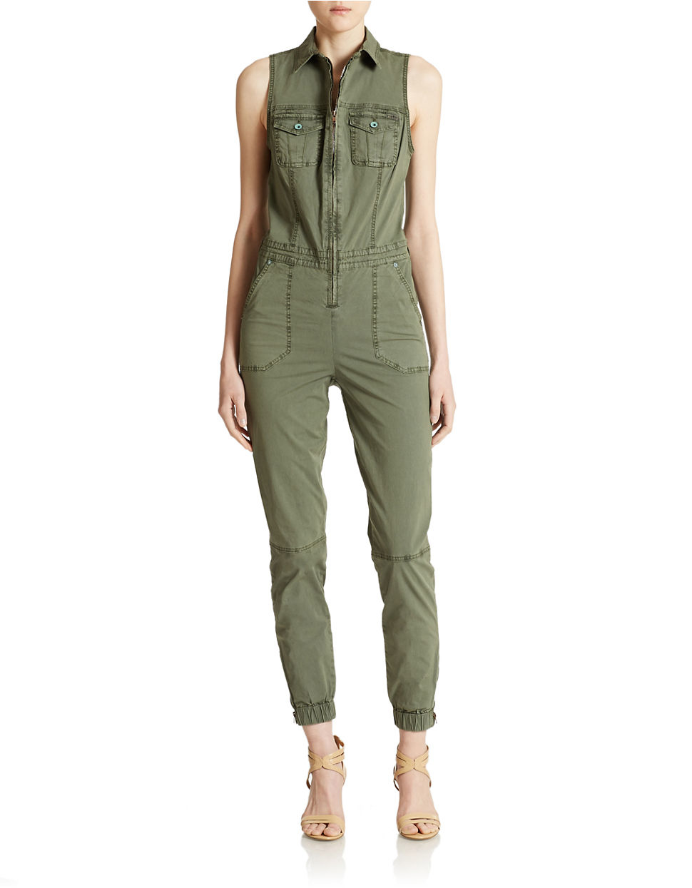 Guess Cargo Jumpsuit In Green Lyst