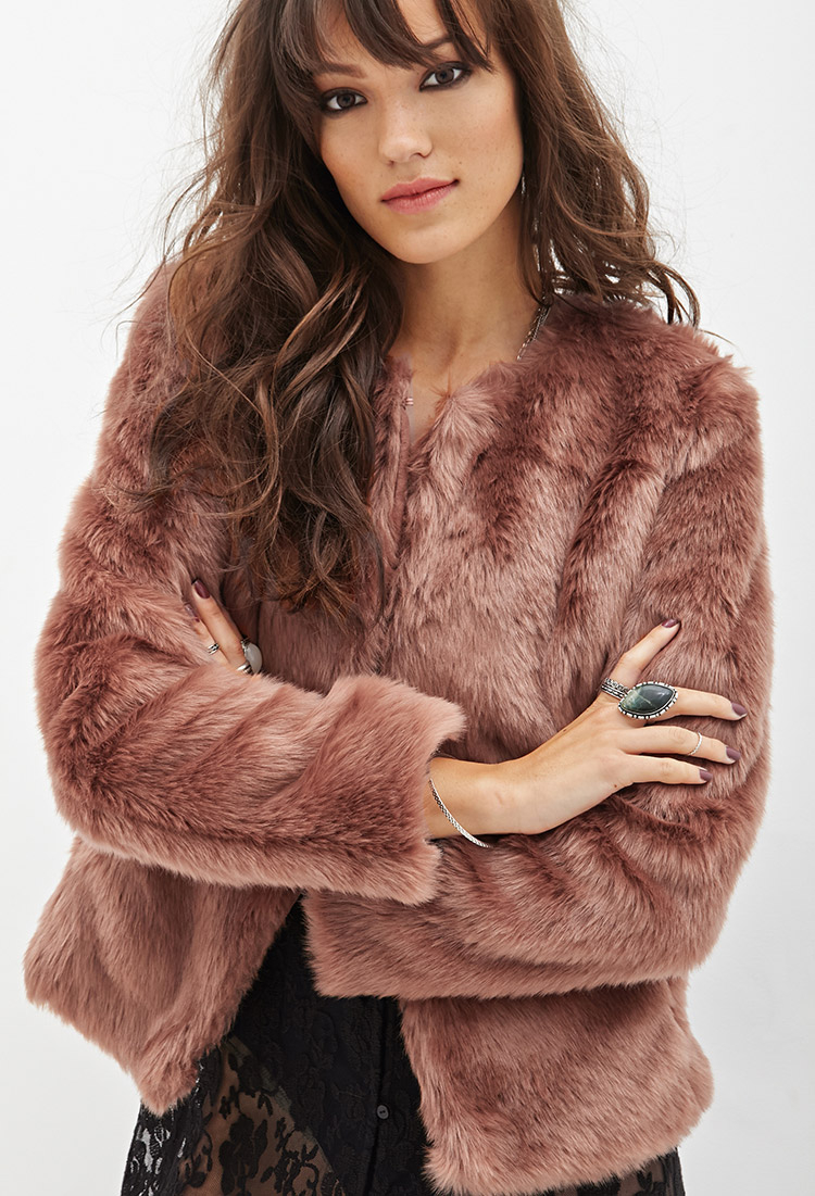 Pink Faux Fur Coat Forever 21 - Tradingbasis