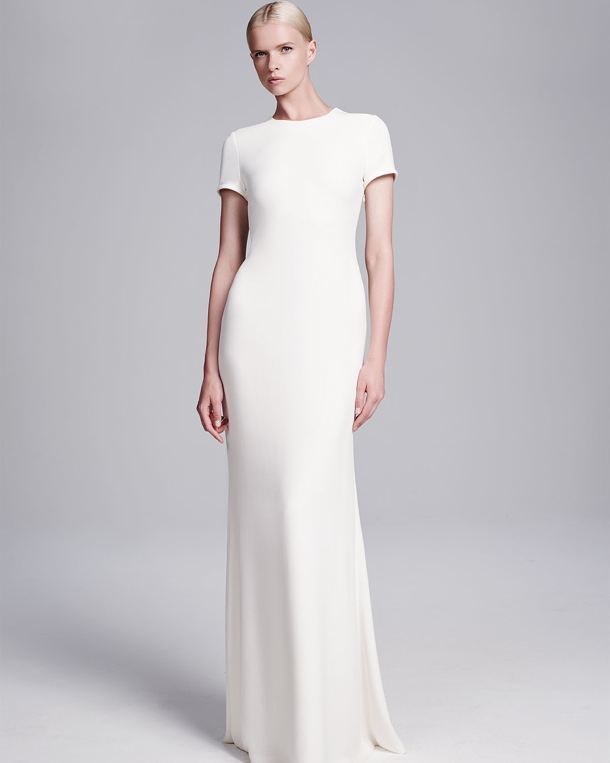e1be02a692cf Lyst - Calvin Klein Open-back Crepe Gown in White