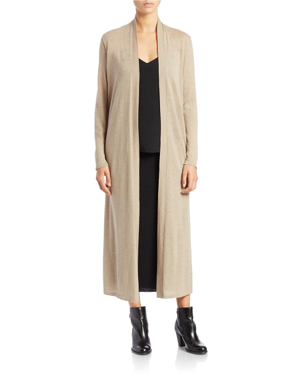 Eileen fisher Wool/linen Maxi Cardigan in Gray | Lyst