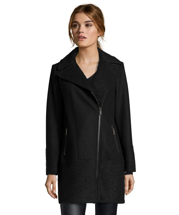 Dkny Black Wool Mixed Media Asymmetrical Zip Coat in Black | Lyst