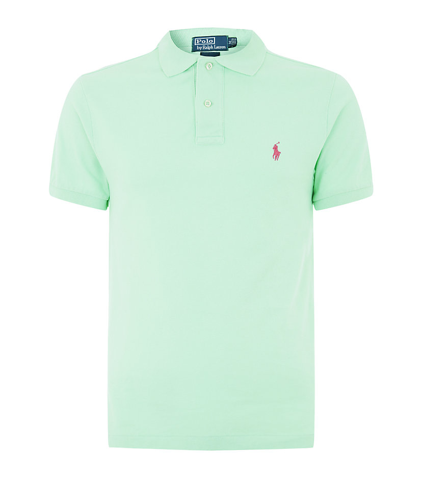 polo ralph lauren slim fit polo shirt in green for men lyst