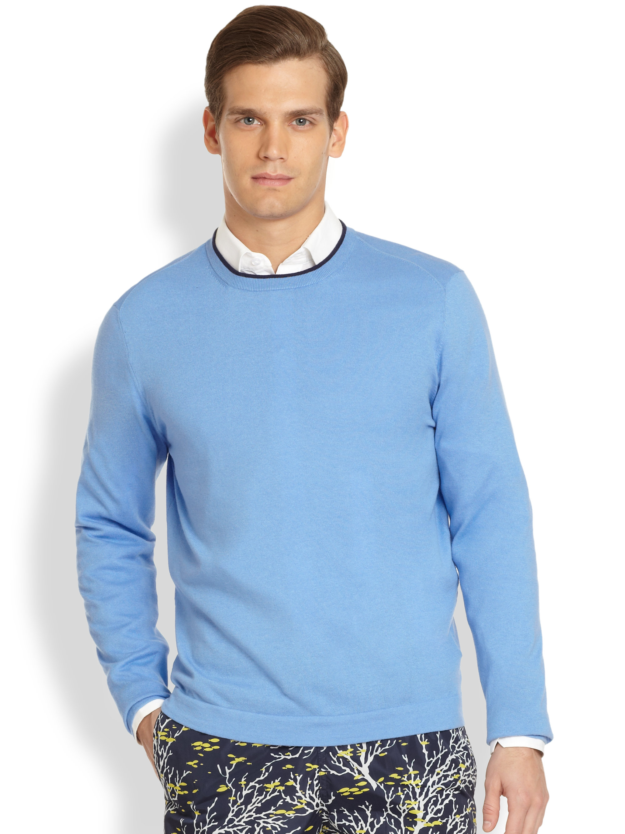 Façonnable Basic Crewneck Sweater in Pink for Men | Lyst
